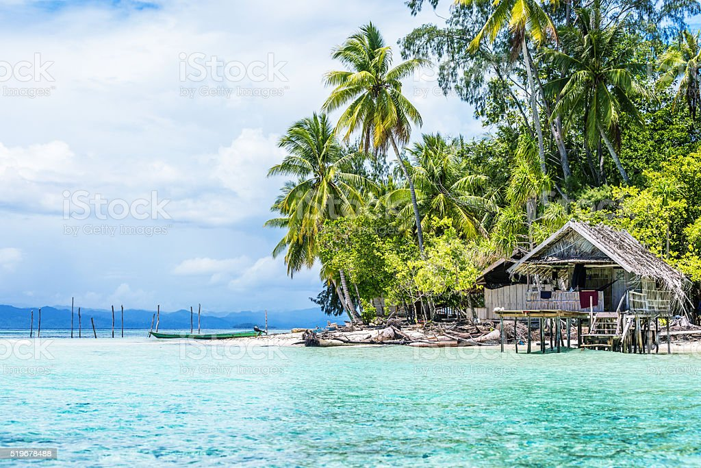 Palm Tree and Huts on Tropical Beach stock photo