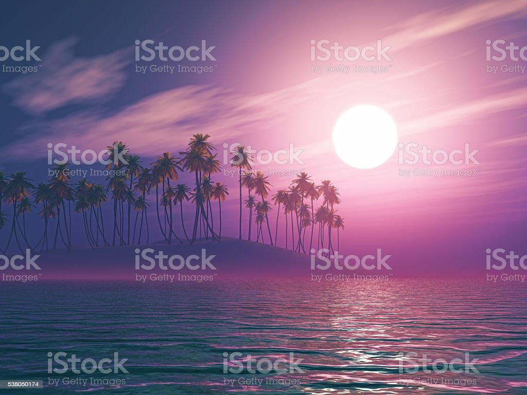 3D palm tree island at sunset stock photo