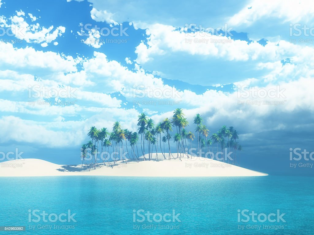 3D palm tree island stock photo