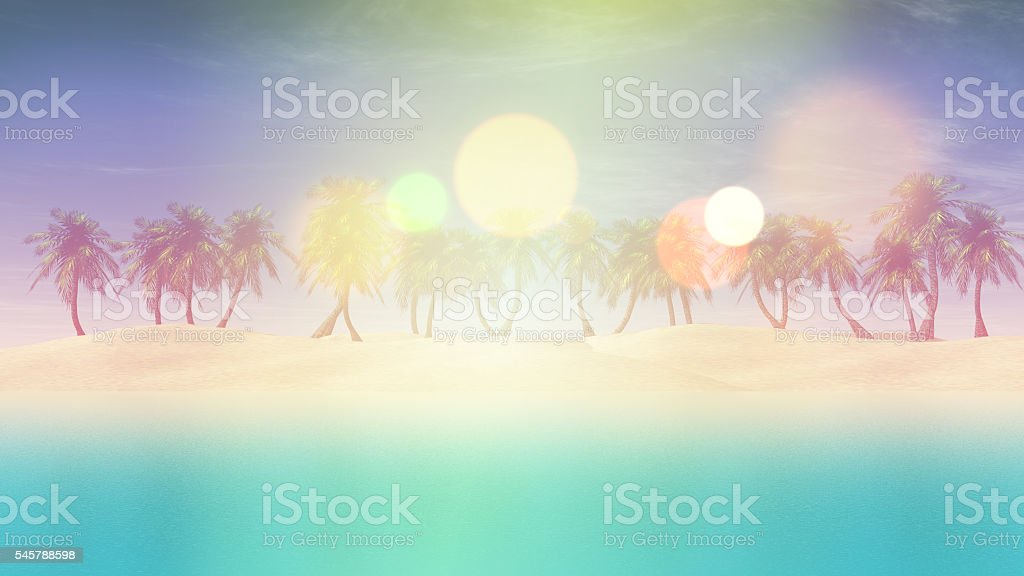 3D palm tree landscape with retro effect stock photo