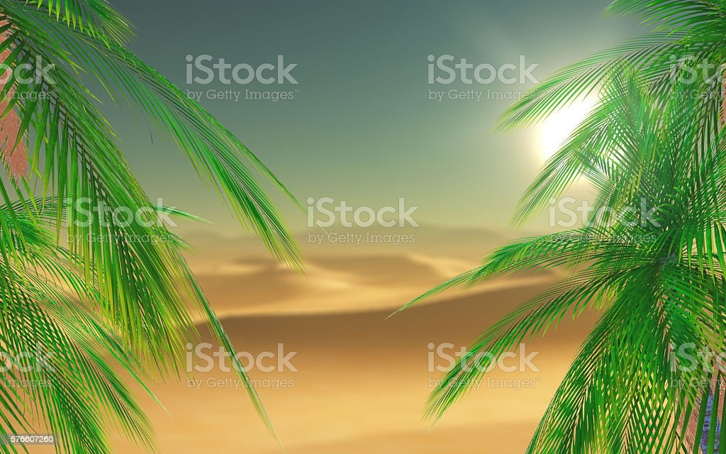 3D palm tree leaves looking out to a desert scene stock photo