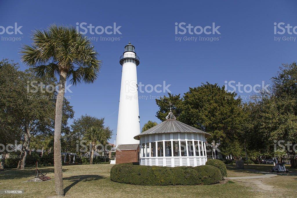 Palm Tree Lighthouse and Gazebo royalty-free stock photo