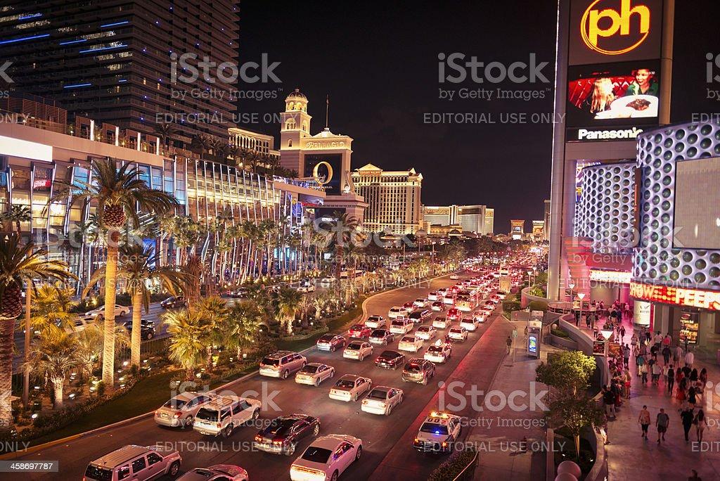 Palm tree on Las Vegas Strip full of car royalty-free stock photo