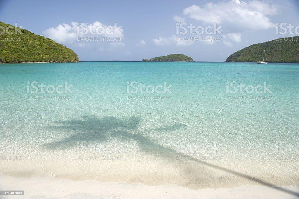 Palm Tree Shadow on Tropical Caribbean Virgin Island Beach stock photo