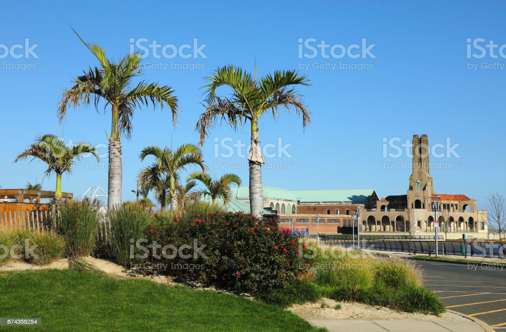 Palm Trees along the Asbury Park, New Jersey Waterfront stock photo