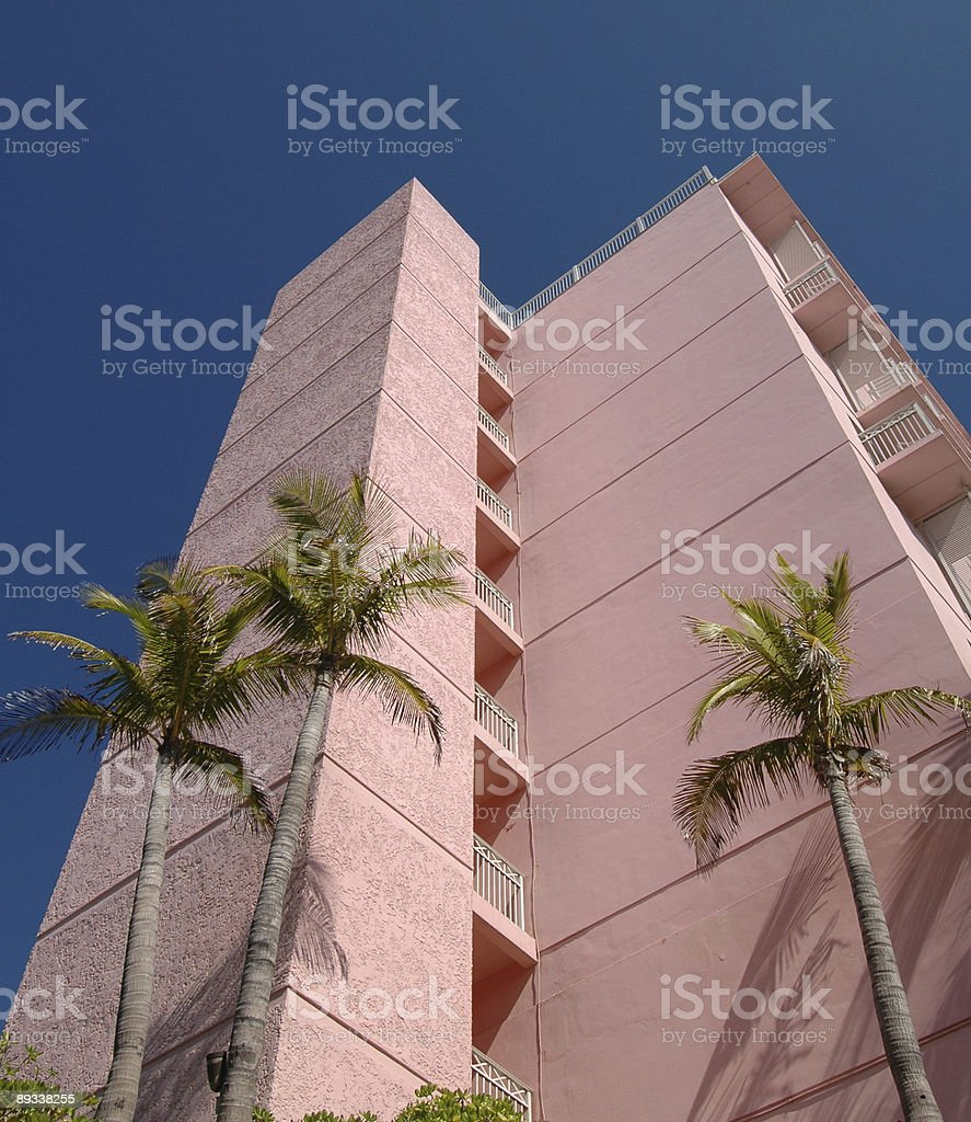 Palm Trees & a Pink Hotel, Caribbean stock photo