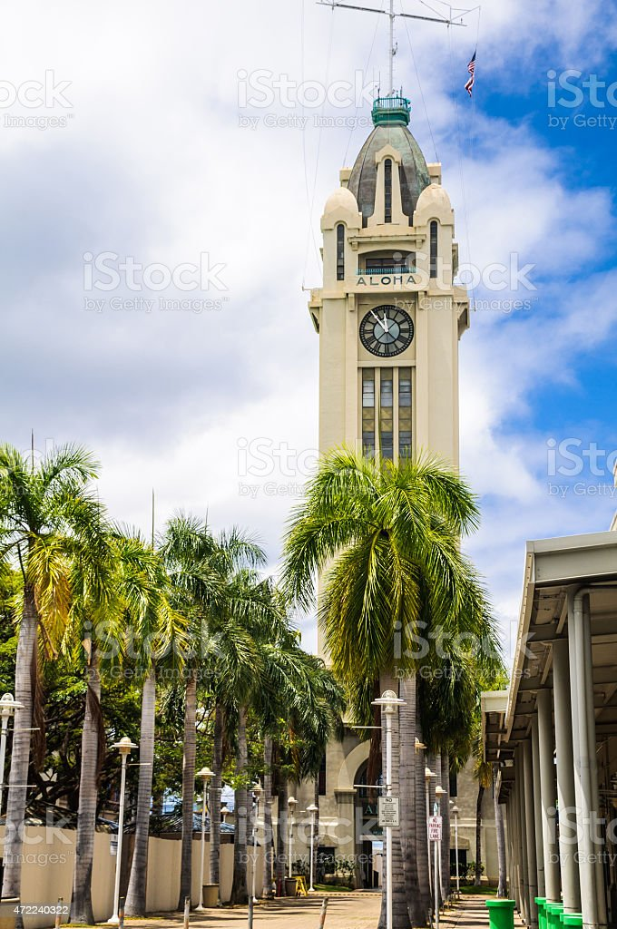 Palm Trees at the Aloha Tower stock photo