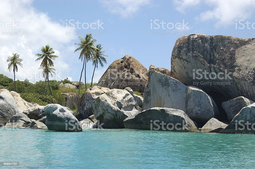 Palm trees, granite boulders and turquoise waters stock photo