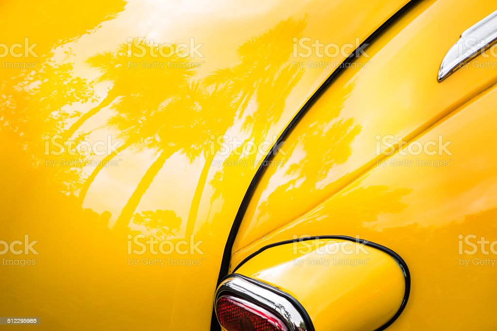 Palm Trees Reflecting on Vintage Car stock photo