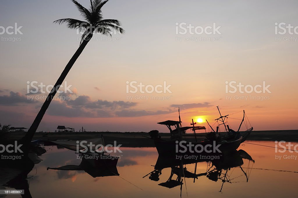 Palm trees silhouette at sunset royalty-free stock photo