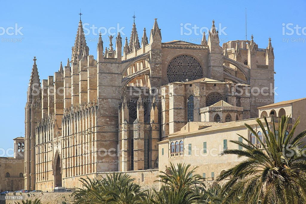 Palma Cathedral City Walls Majorca Spain royalty-free stock photo