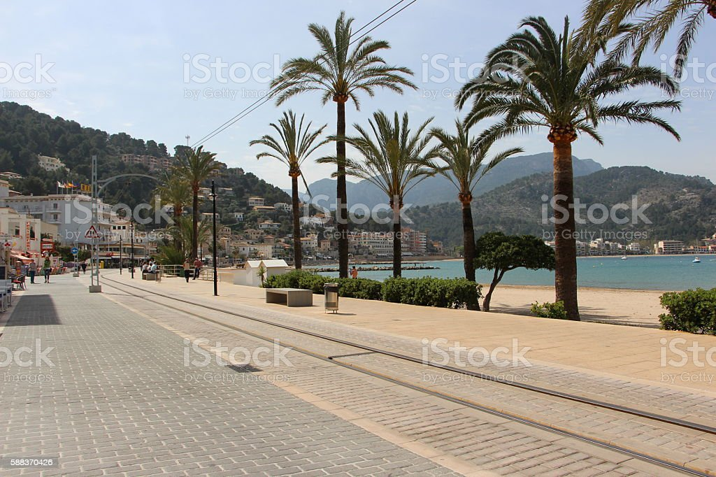 palma de majorque - harbor of soller stock photo