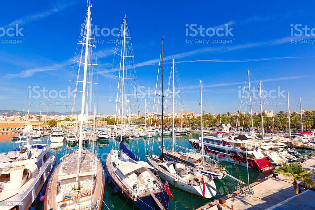 Palma de Mallorca port marina in Majorca Balearic stock photo