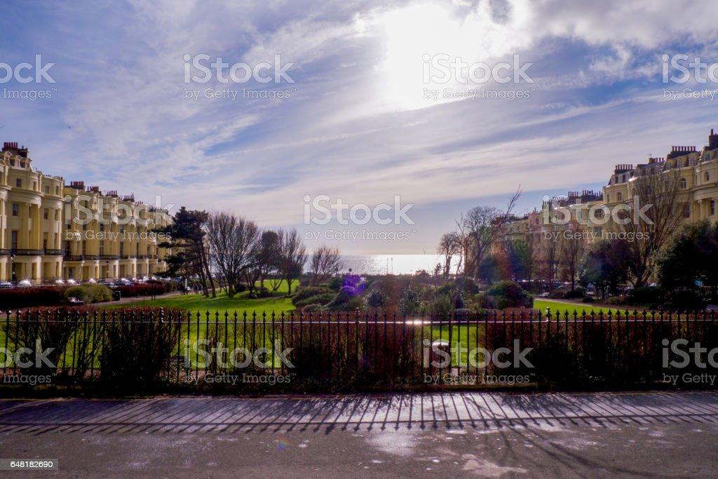 Palmer Square, Brighton, sea view stock photo