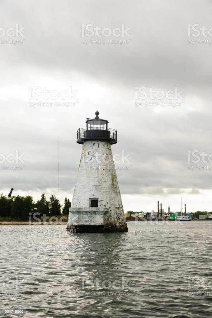 Palmer's Island lighthouse needing paint job stock photo