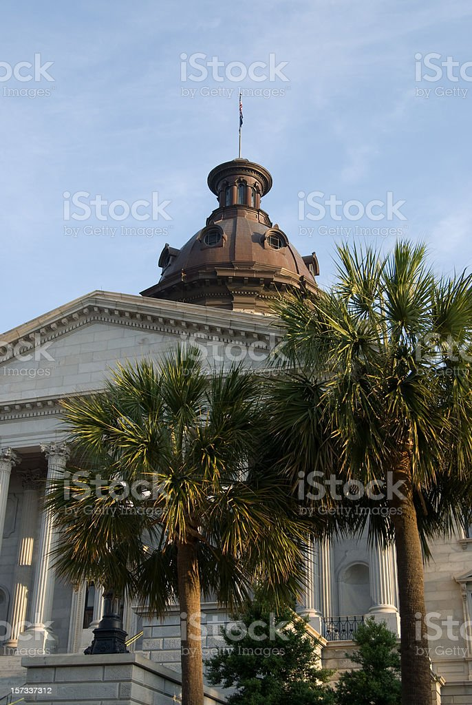 Palmetto Trees and the South Carolina State House royalty-free stock photo