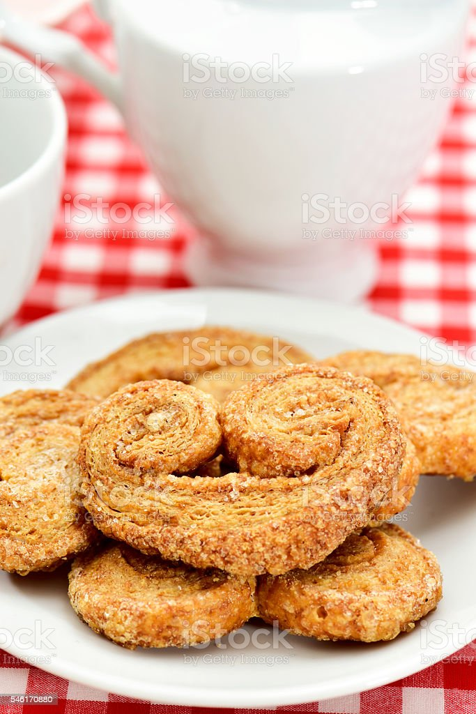 palmier pastries made with spelt flour stock photo