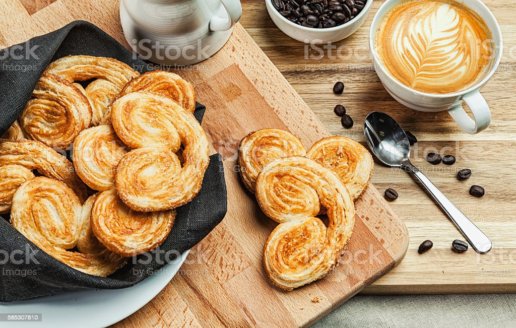Palmier pastries with coffee stock photo