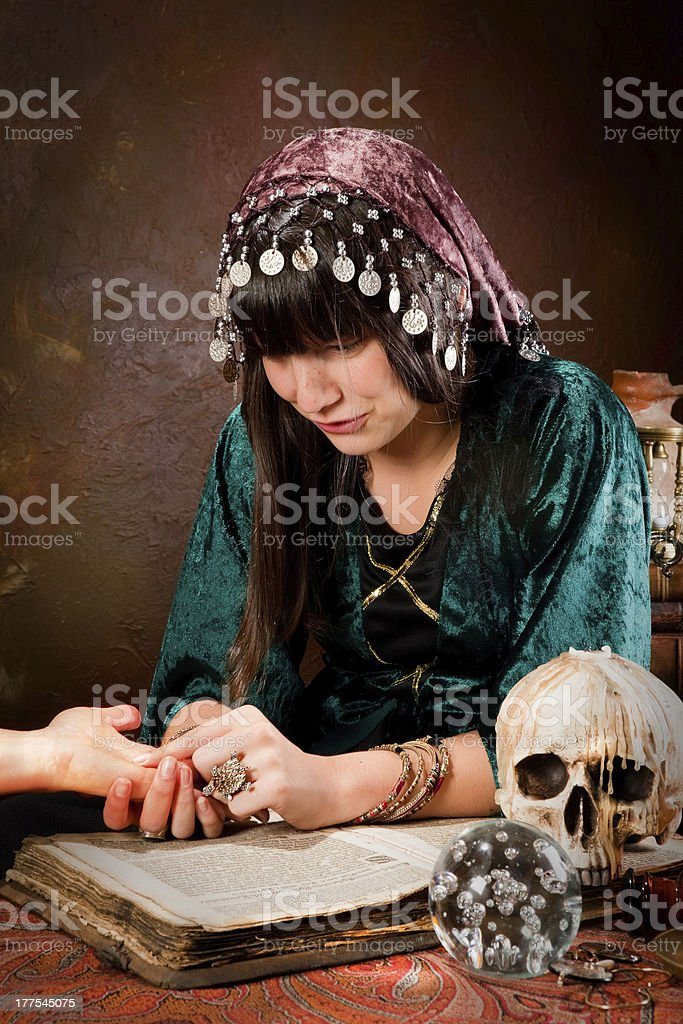 Palmister or hand-reader stock photo