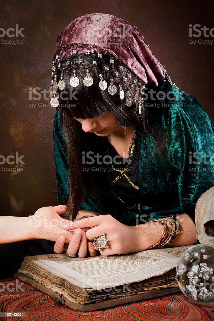 Palmistry hand-reading stock photo