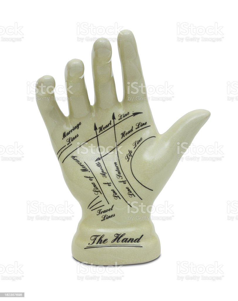 Palmistry or Phrenology hand used for fortune telling stock photo