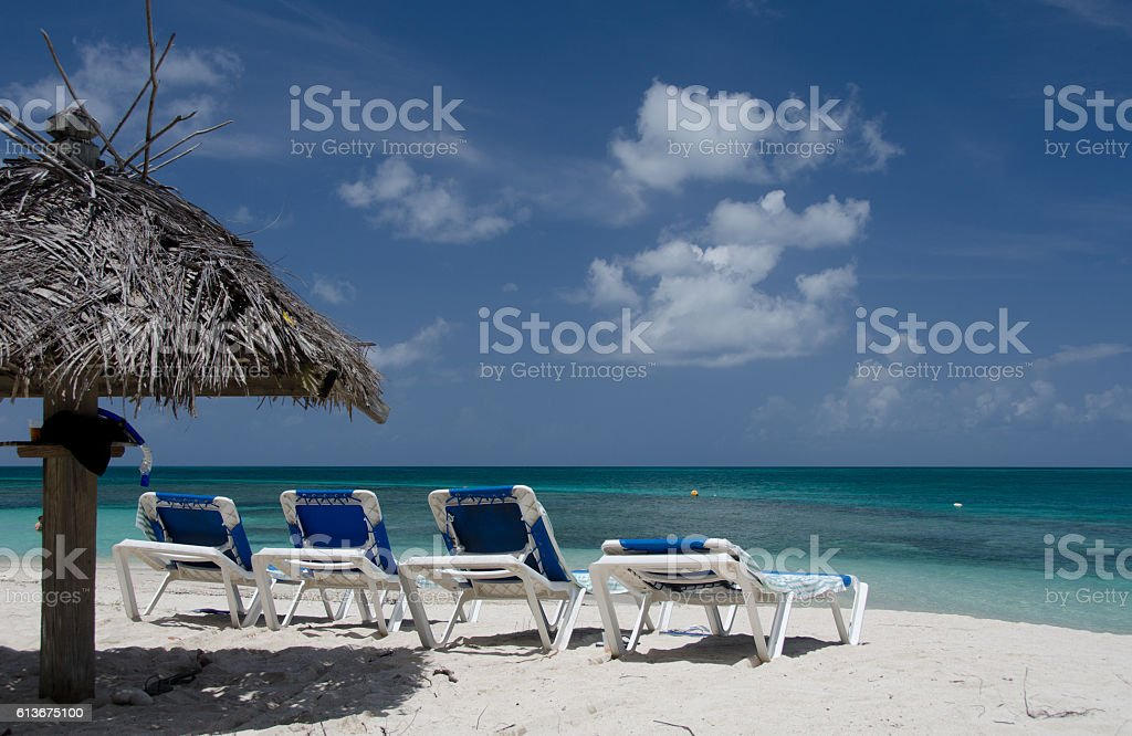 Palms, beach chairs and umbrellas on beautiful Cocobay beach stock photo