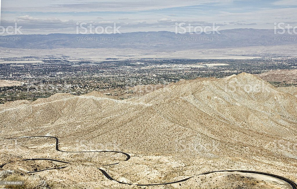 Palms To Pines Highway Above Palm Desert and Coachella Valley stock photo
