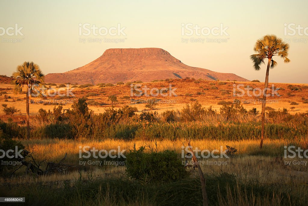 Palmwag Sunset Landscape - Namibia Africa stock photo
