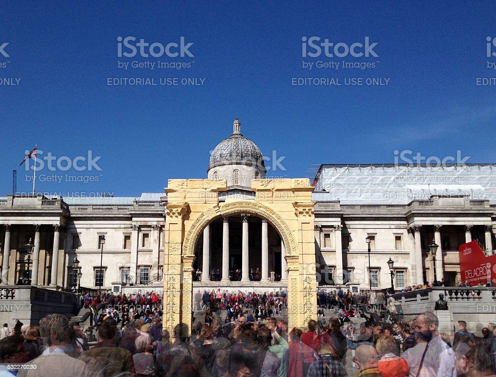 Palmyra Arch Recreated in London Trafalgar Square stock photo