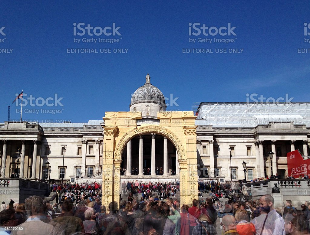 Palmyra Arch Recreated in London Trafalgar Square stock photo