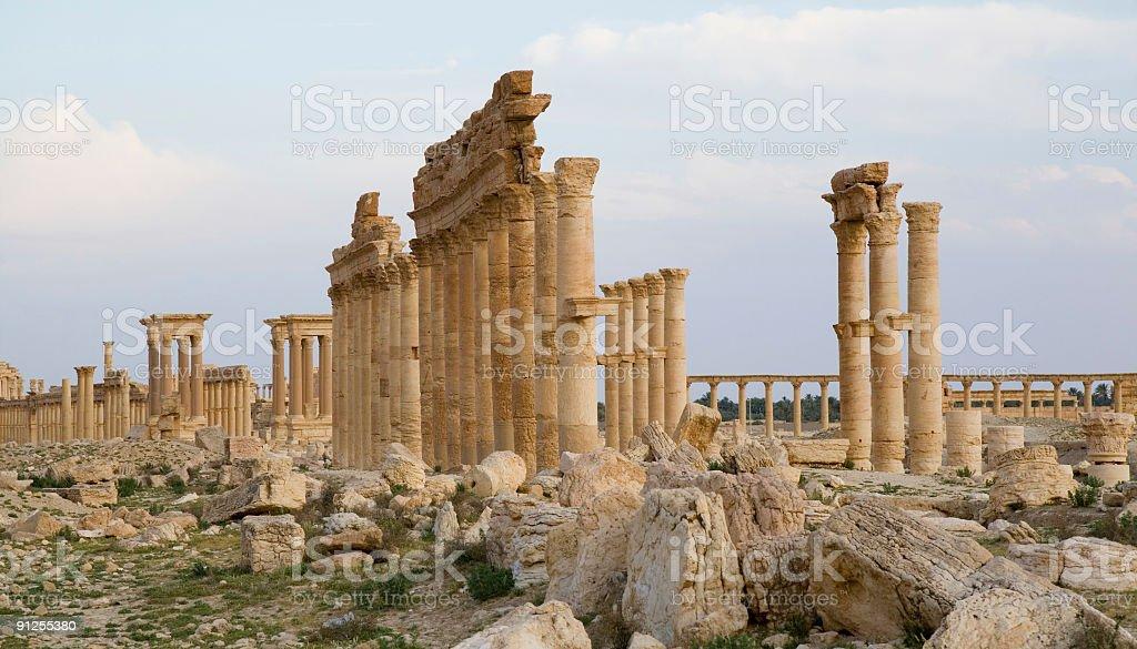 Palmyra Colonnades Corinthian stock photo