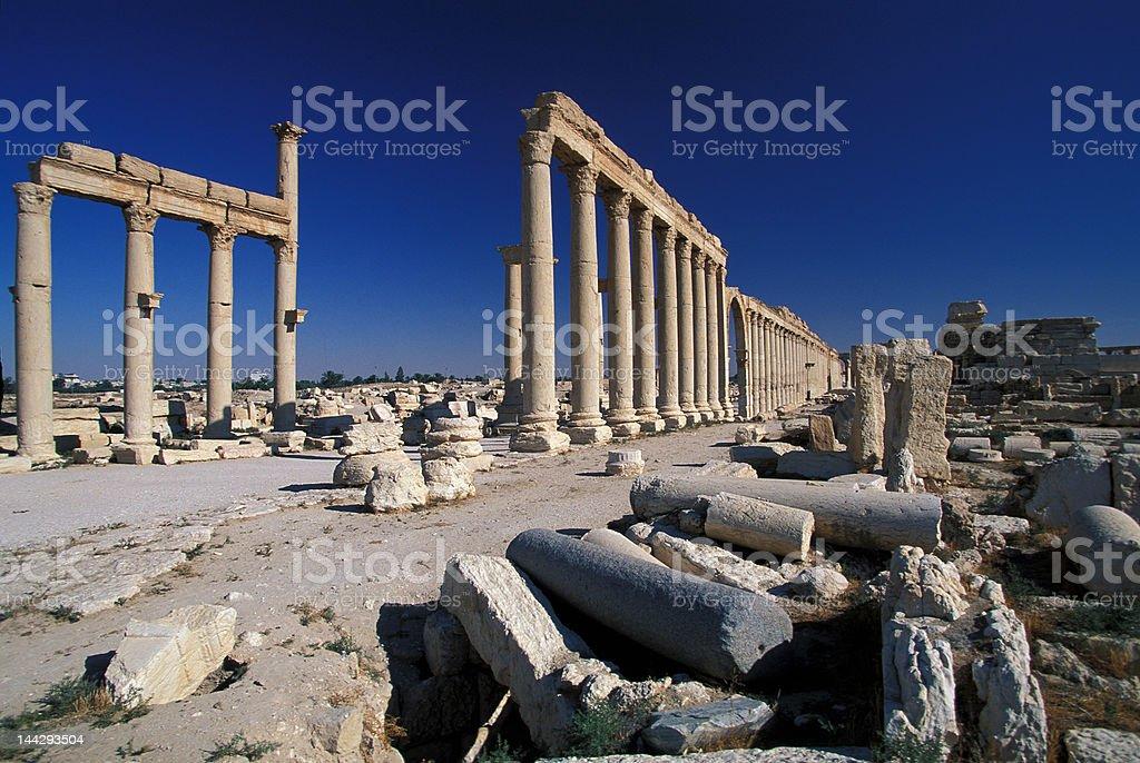 Palmyra ruins in the desert royalty-free stock photo