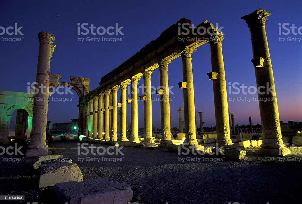 Palmyra ruins in the evening royalty-free stock photo