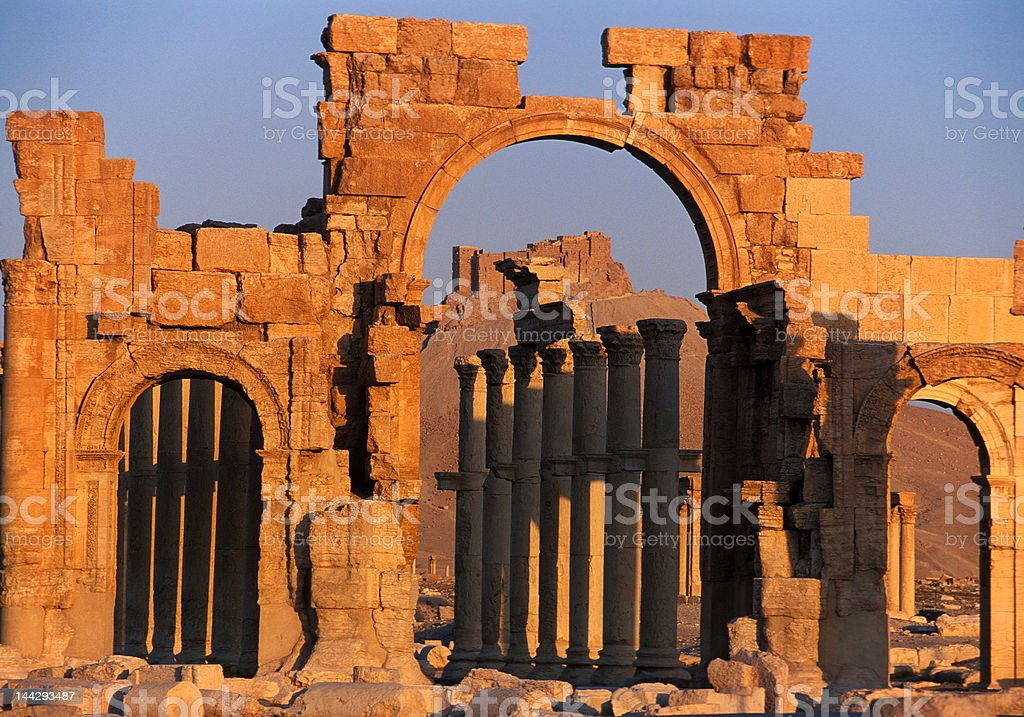 Palmyra ruins in the sunset royalty-free stock photo