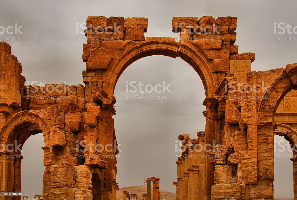 Palmyra, Syria: the Monumental Arch, Great Colonnade entrance stock photo