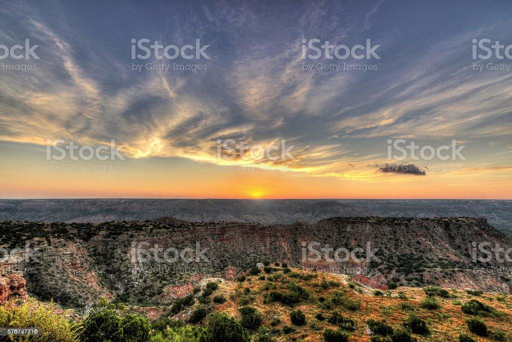Palo Duro Sunrise stock photo