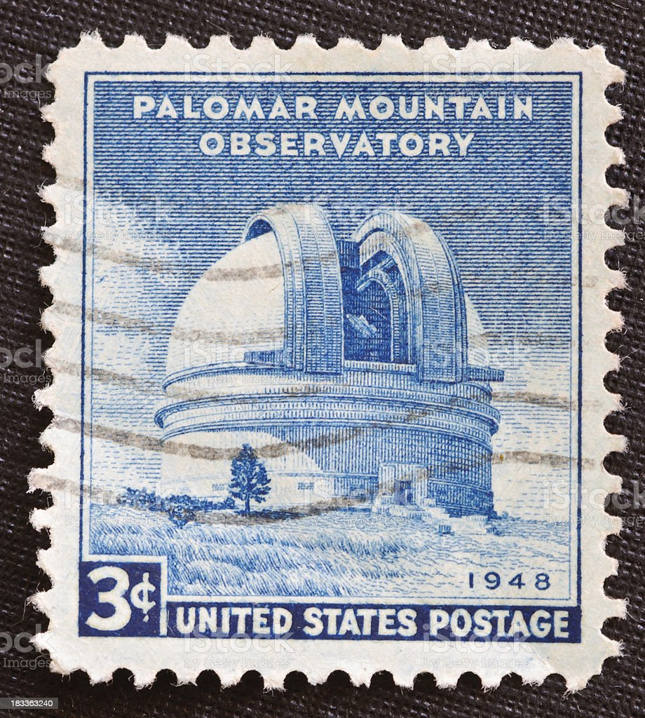Palomar Mountain Observatory 1948 stamp stock photo