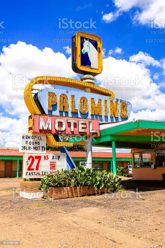 Palomino Motel sign on Route 66 in Tucumcari New Mexico stock photo