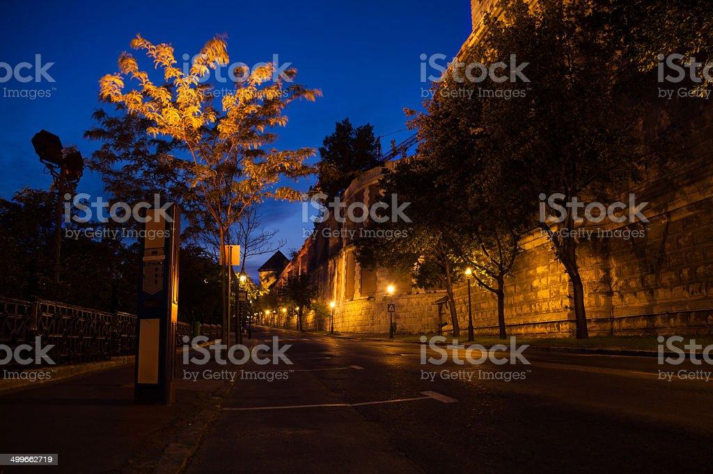 Palota út under Buda Castle and National Library royalty-free stock photo