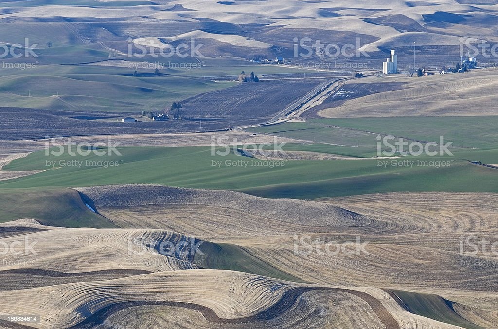 Palouse country in winter from Steptoe Butte stock photo