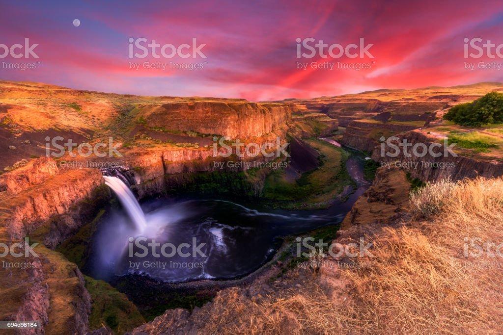 Palouse Falls at Dusk stock photo