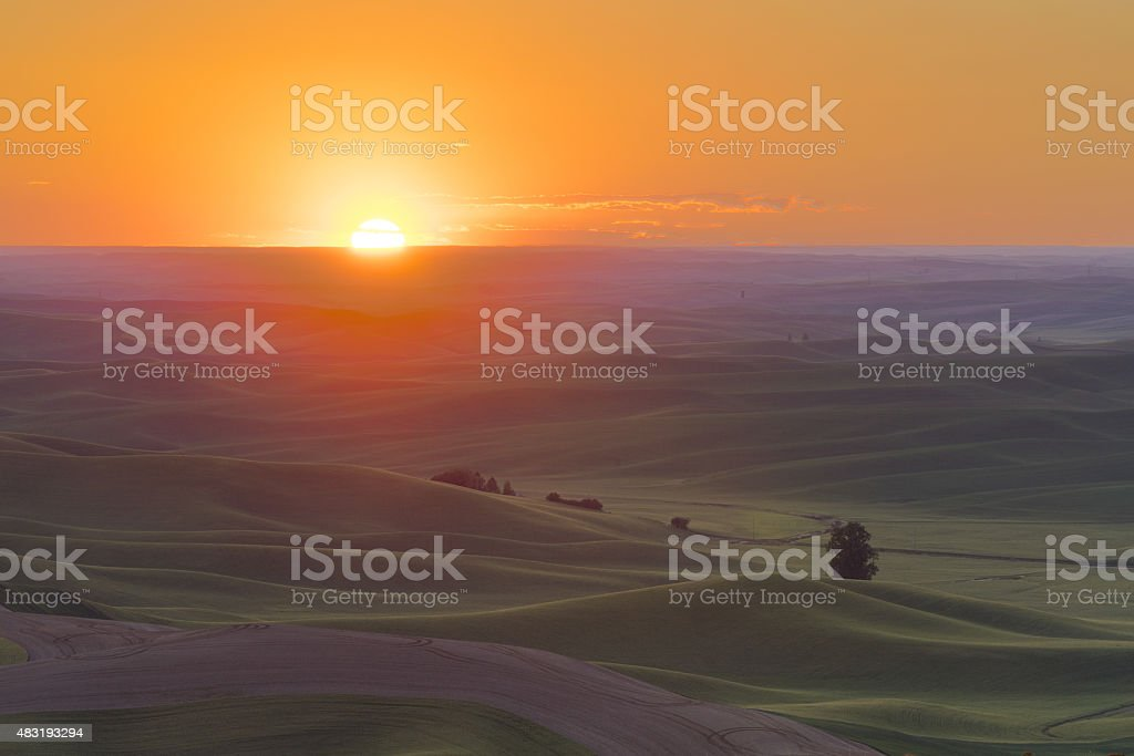 Palouse Sunset stock photo