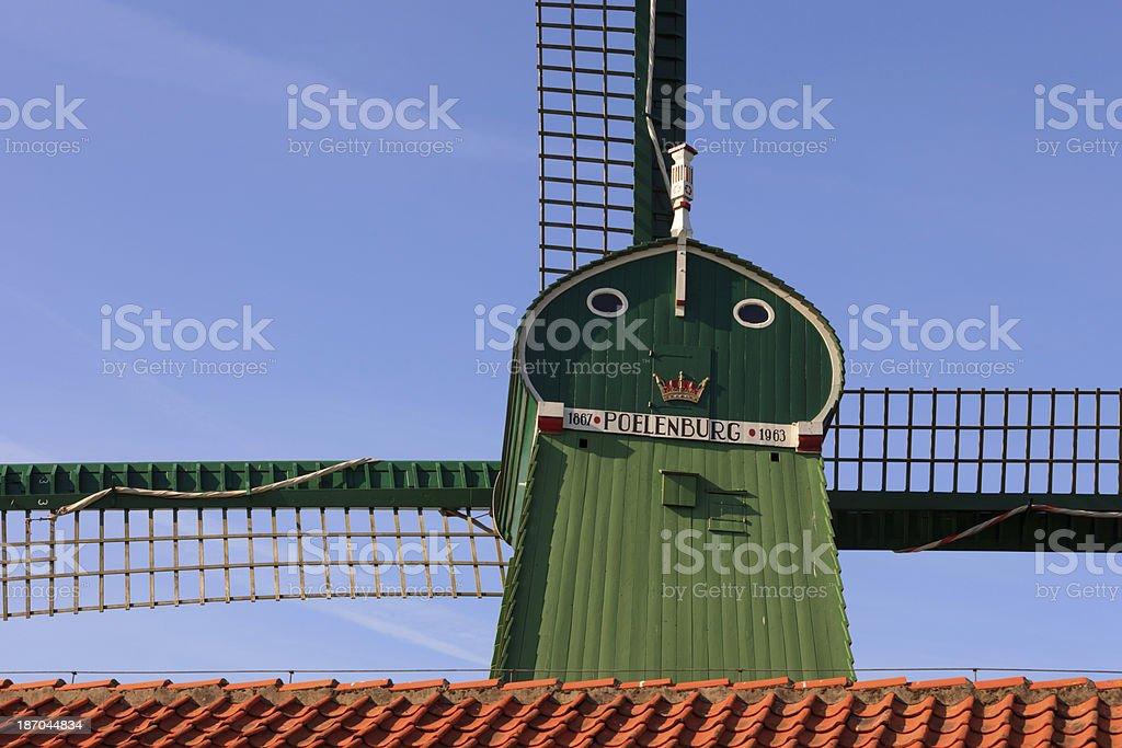 paltrok mill De Gekroonde Poelenburg on the Kalverringdijk at Zaandam royalty-free stock photo