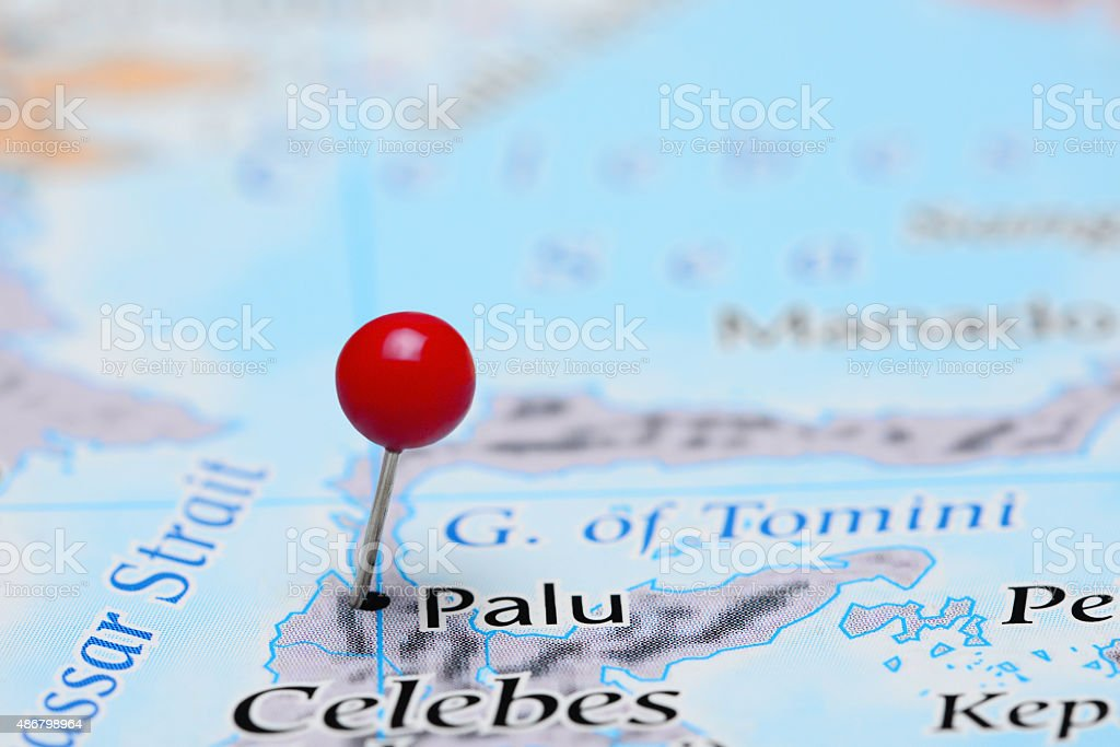 Palu pinned on a map of Asia stock photo