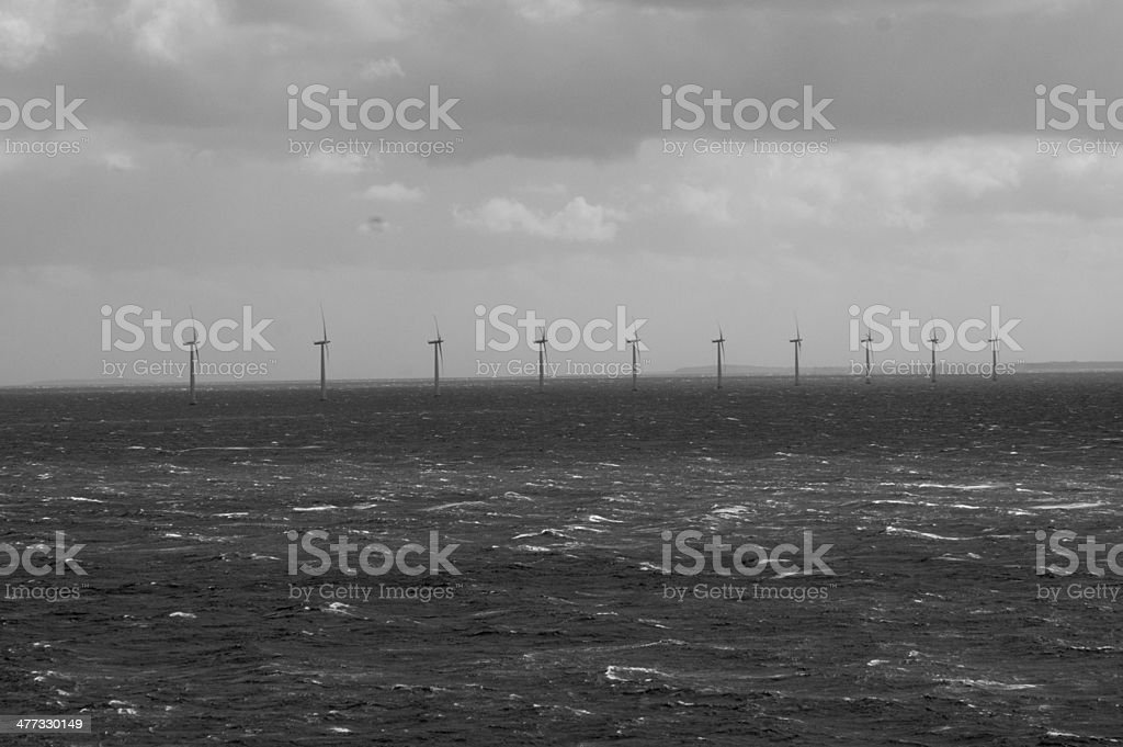 Paludans Flak off shore windfarm black and white stock photo