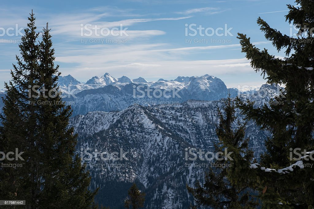 pamorama view of the austrian alps in winter stock photo
