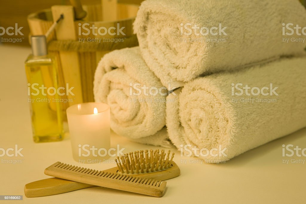 Pampering herself royalty-free stock photo