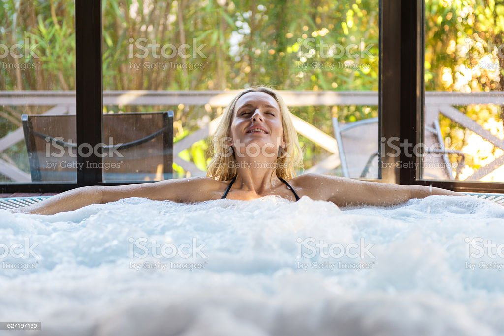 Pampering in jacuzzi ! stock photo