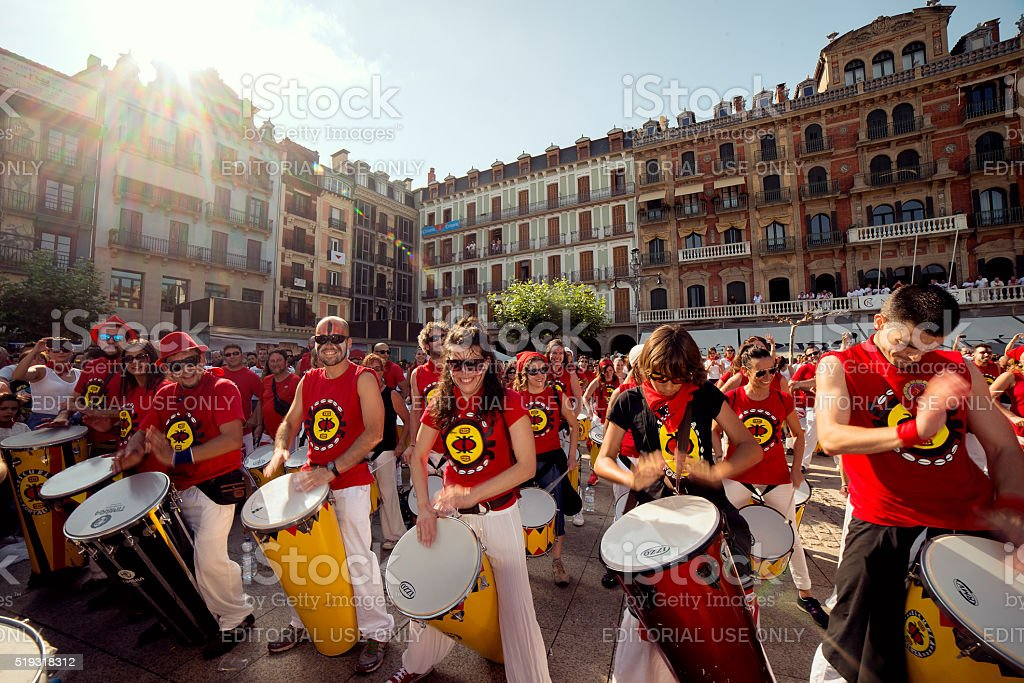 Pamplona Navarra Spain July 11 2015 band playing drums stock photo