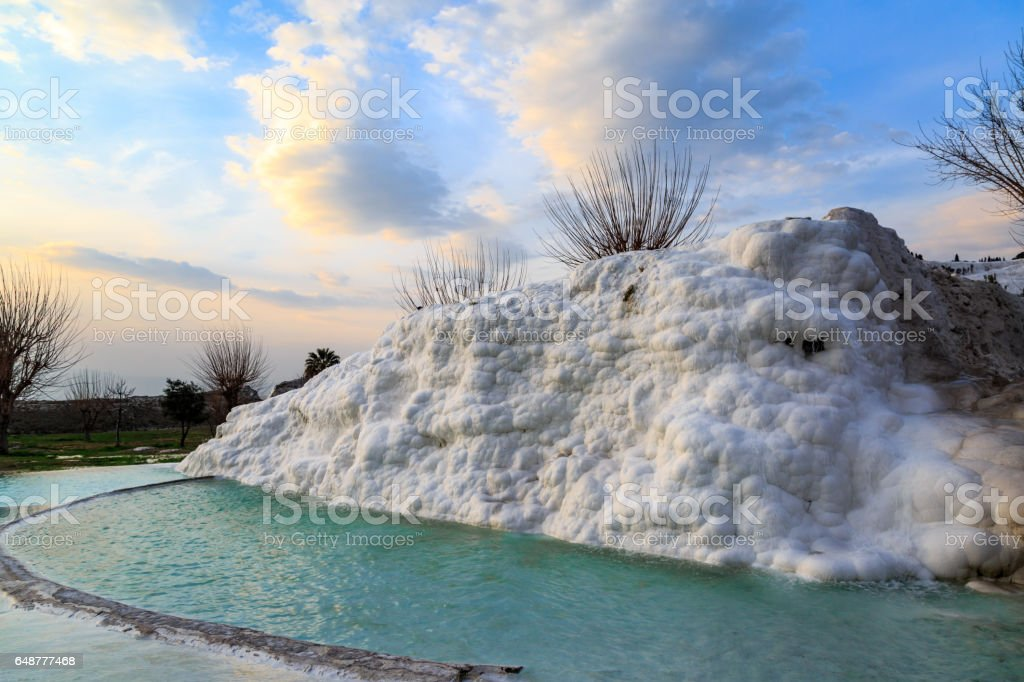 Pamukkale travertine mineral basins stock photo